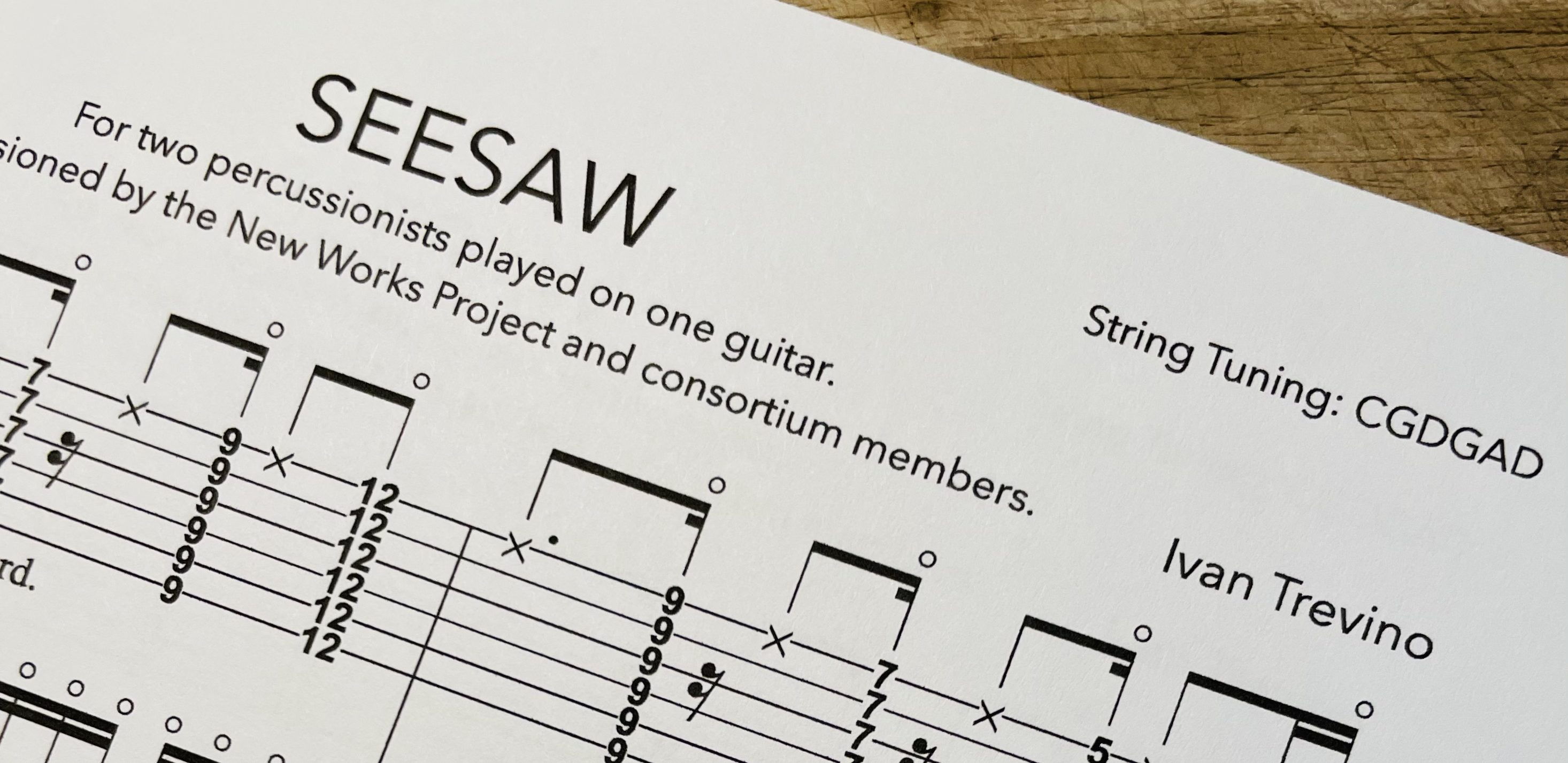 New Release: SEESAW for percussion duo, played on guitar